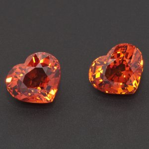Orange Spessartite Garnet Heart Pair 6ct