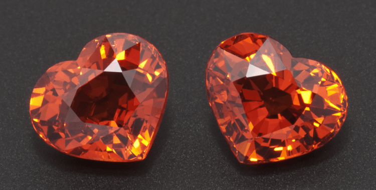 Orange Spessartite garnet pair of heart shaped gems